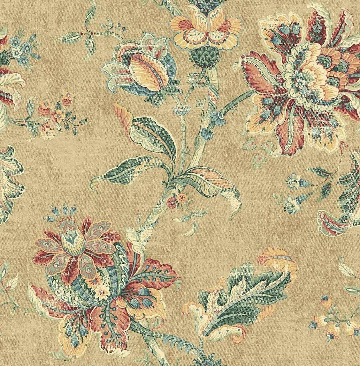 Blooming Jacobean Wallpaper in Antique Gold RN70907 from