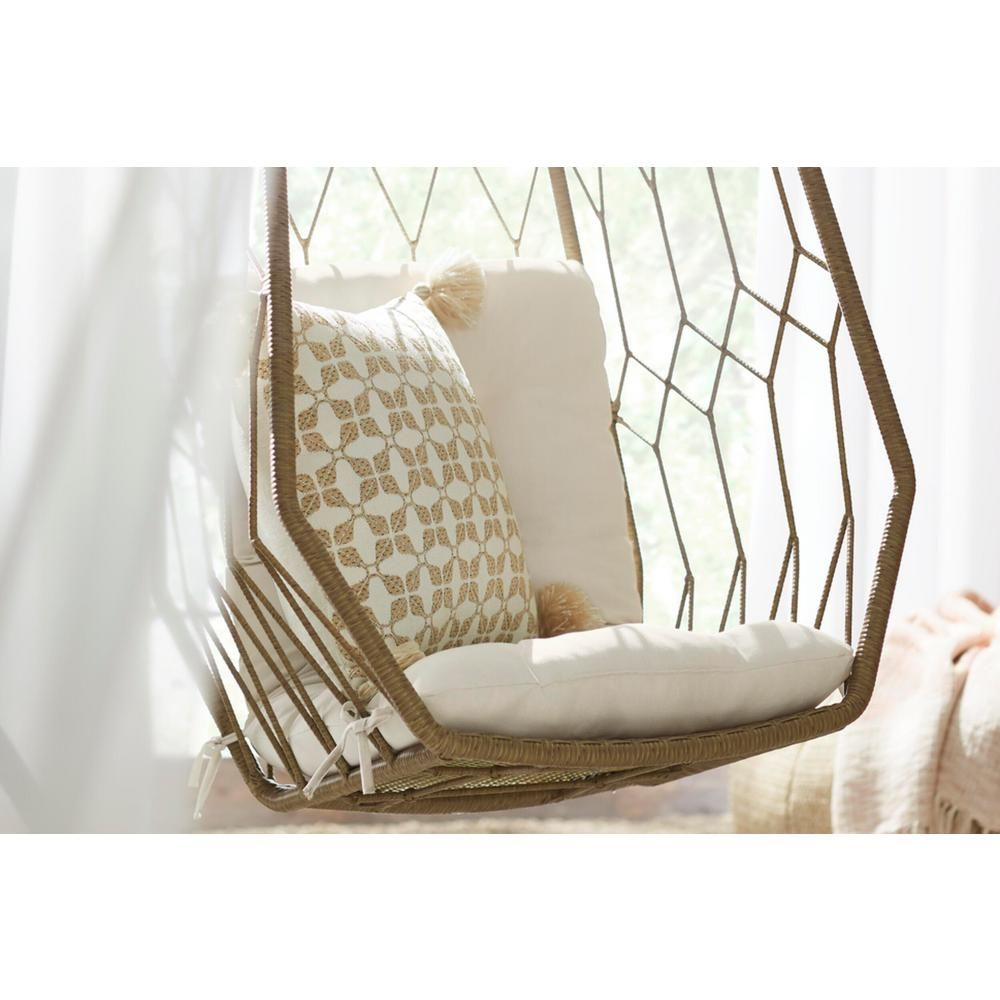 Hampton Bay Diamond Shaped 1 Person Wicker Outdoor Patio Swing