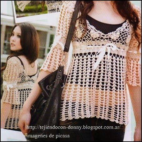 crochet fabric , CROCHET - GANCHILLO - PATRONES - GRAFICOS: REMERA CALADA TEJIDA A CROCHET