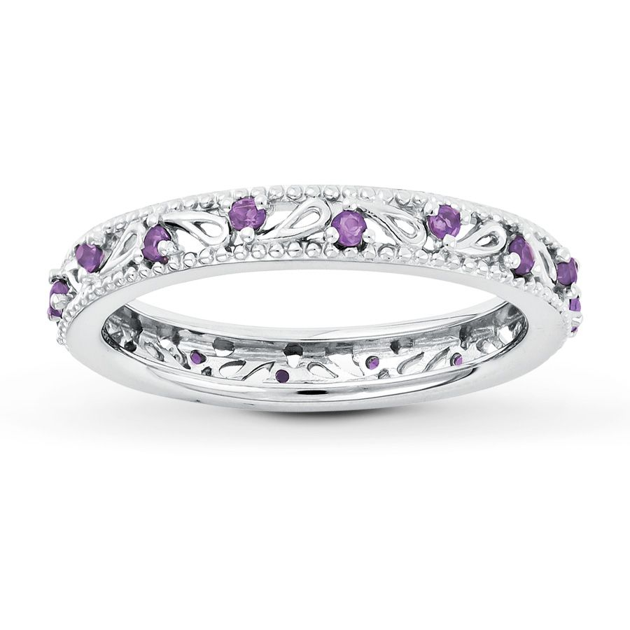 Stackable Ring Amethyst Sterling Silver Jewelry
