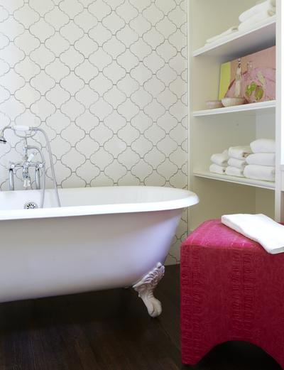 white arabesque glass tile