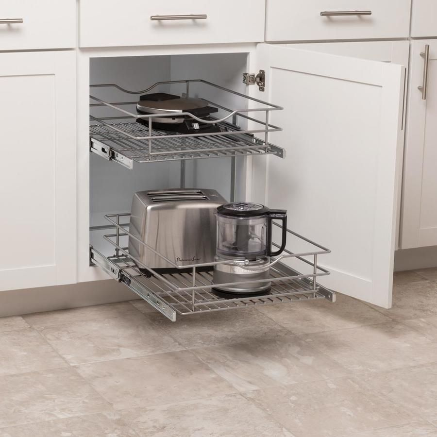 Simply Put 17 5 In W X 14 6875 In H 2 Tier Pull Out Metal Soft Close Baskets Organizers Lowes Com Cabinet Organization Cabinets Organization Kitchen Cabinet Organization