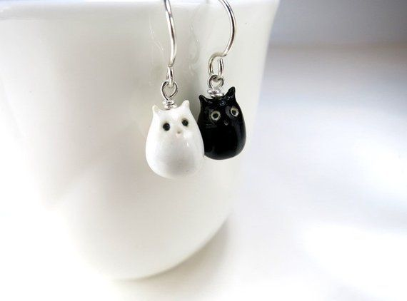 Cats earrings handmade in polymer clay Gift for cats lover gift for woman or girl