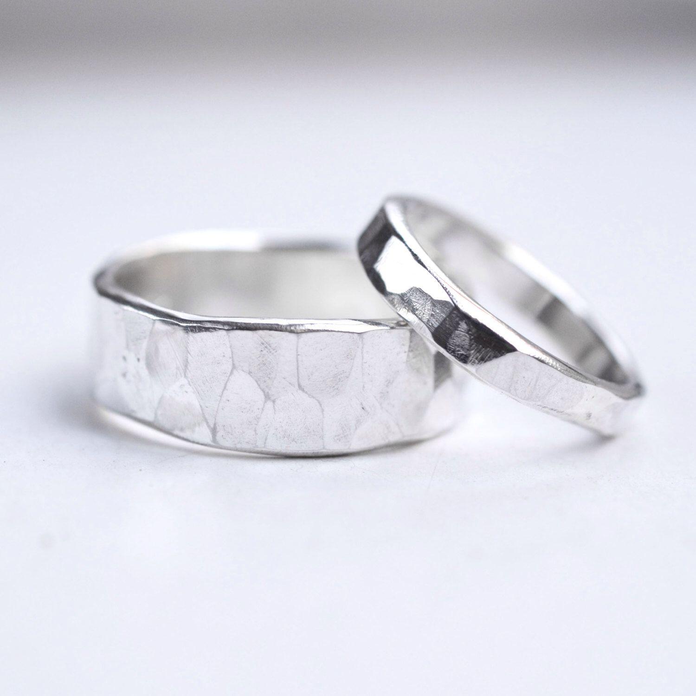 Hammered Wedding Rings Silver Wedding Bands Rustic Wedding Ring
