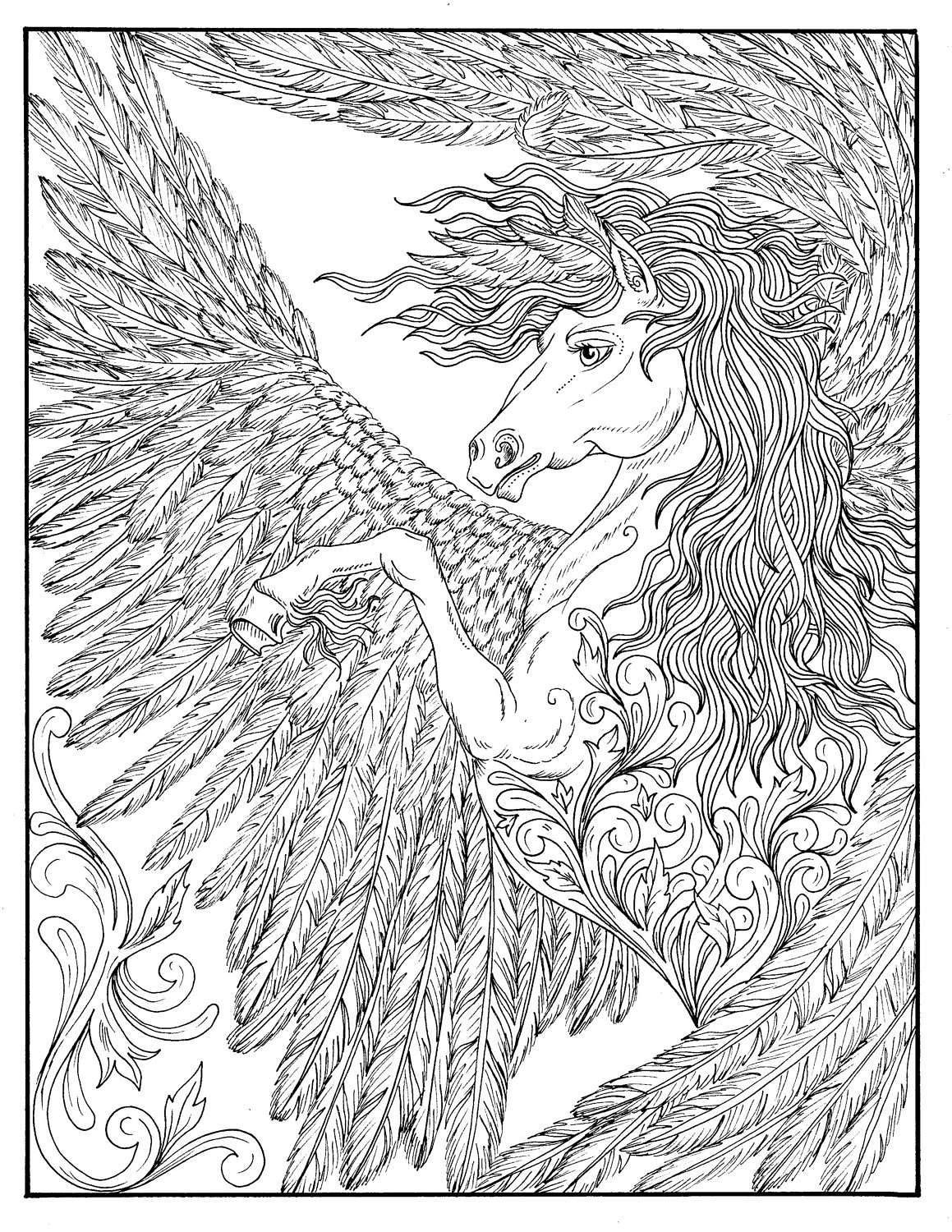 FANTASY Themed Coloring Book Fairies, dragons, pixies ...