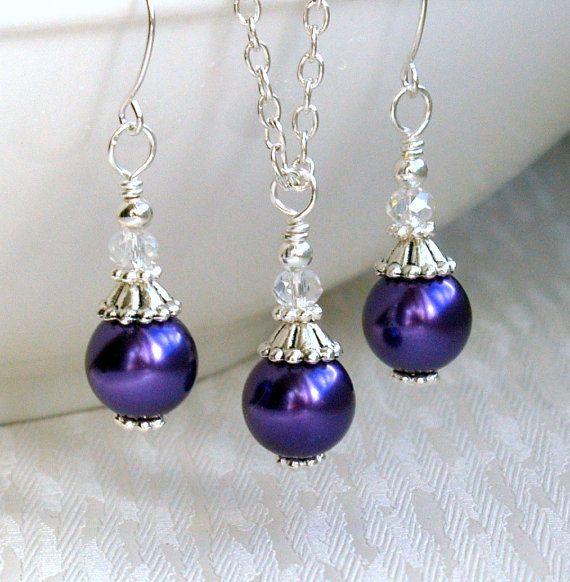 Dark Purple Bridesmaid jewelry set of necklace by LaurinWedding, $14.00