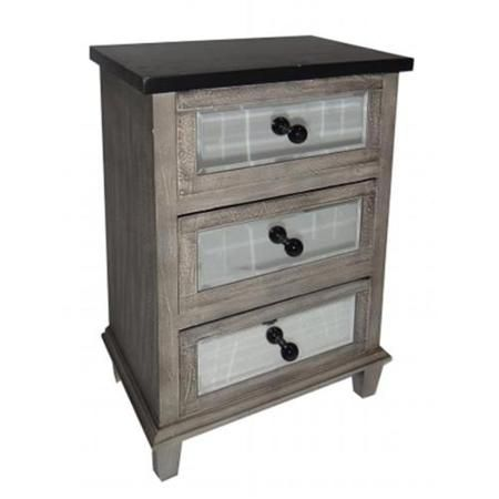 Cheungs Rattan FP-3571 3 Drawer Wood Cabinet with Distressed Black top and black knobs with mirrored drawers -