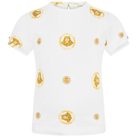 a5213820 Young Versace Baby Girls Ivory & Gold Medusa Top | Young Versace ...