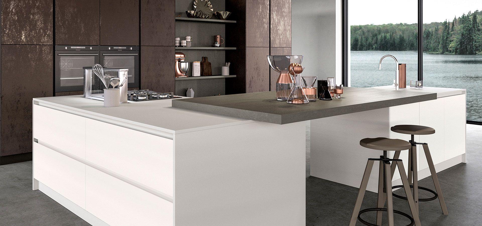 Cucina moderna design ante in vetro lucido opaco glass - Ante in vetro cucina ...