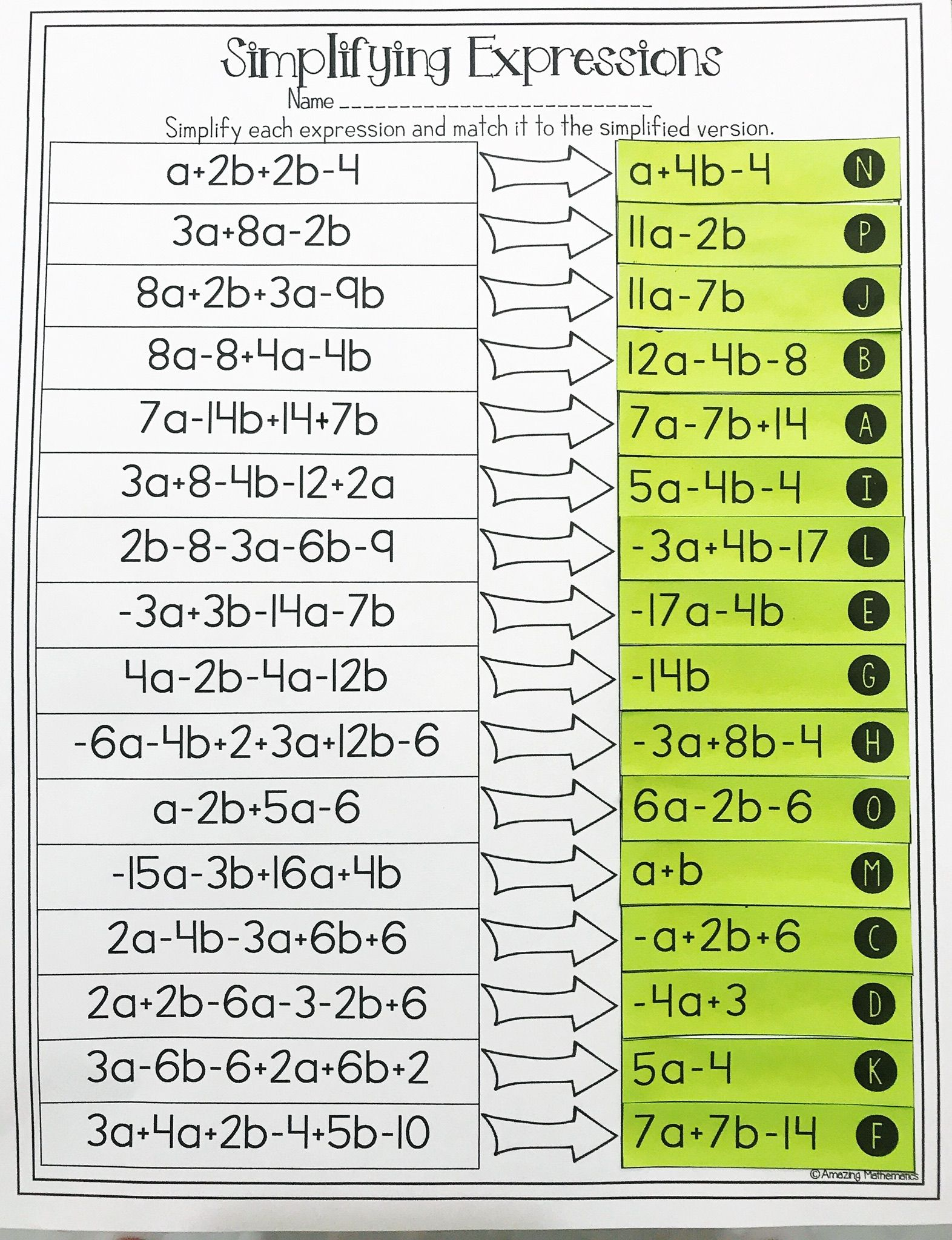 Combining Like Terms And Simplifying Expressions Matching Activity Worksheet Simplifying Expressions Combining Like Terms Math Expressions