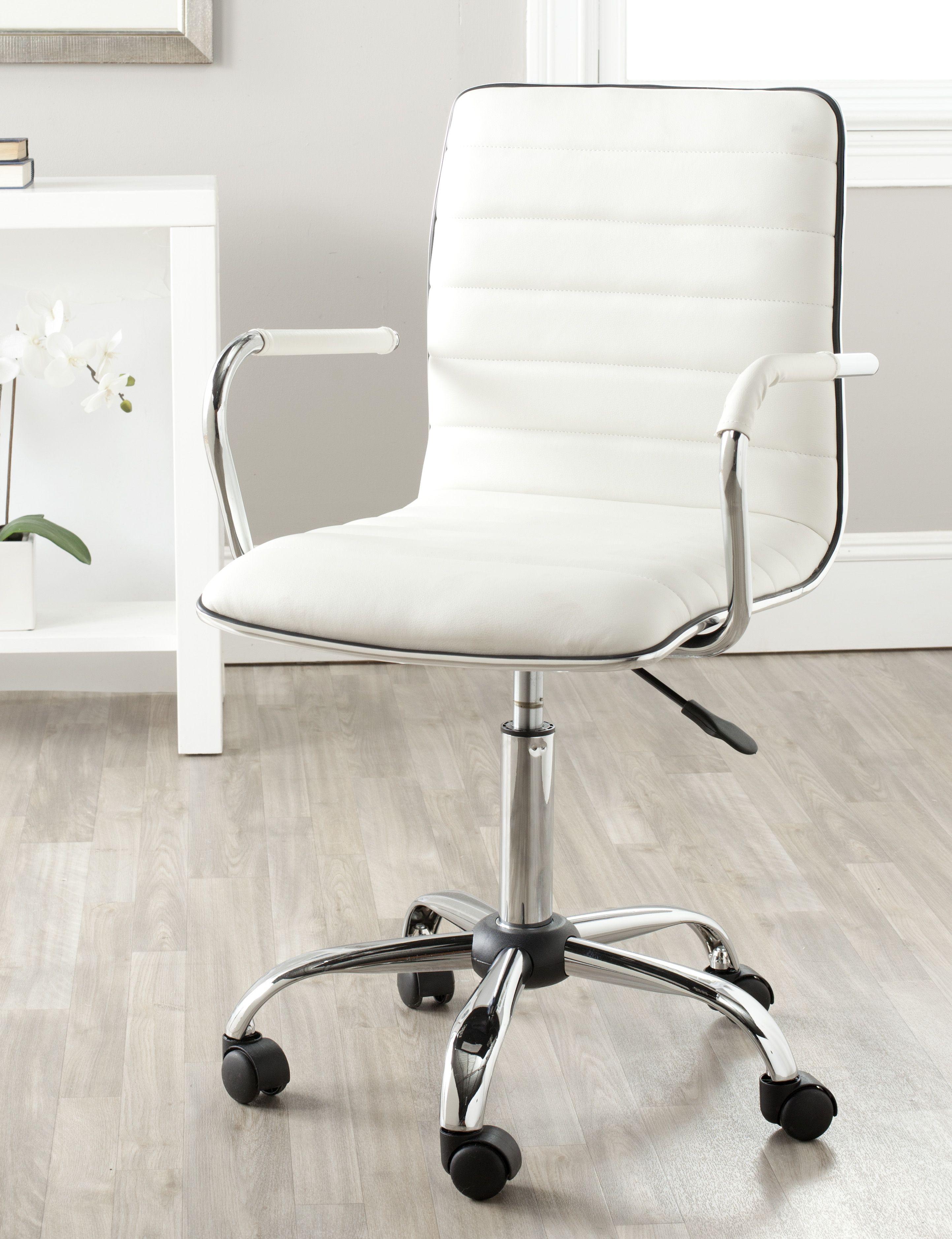 Safavieh Jonika Modern Glam Solid Swivel Desk Chair Walmart Com In 2020 White Desk Chair Adjustable Height Desk Chair Swivel Chair Desk