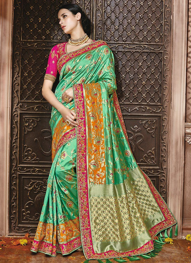 Green And Magenta Embroidered Silk Saree Sarees Pinterest Silk
