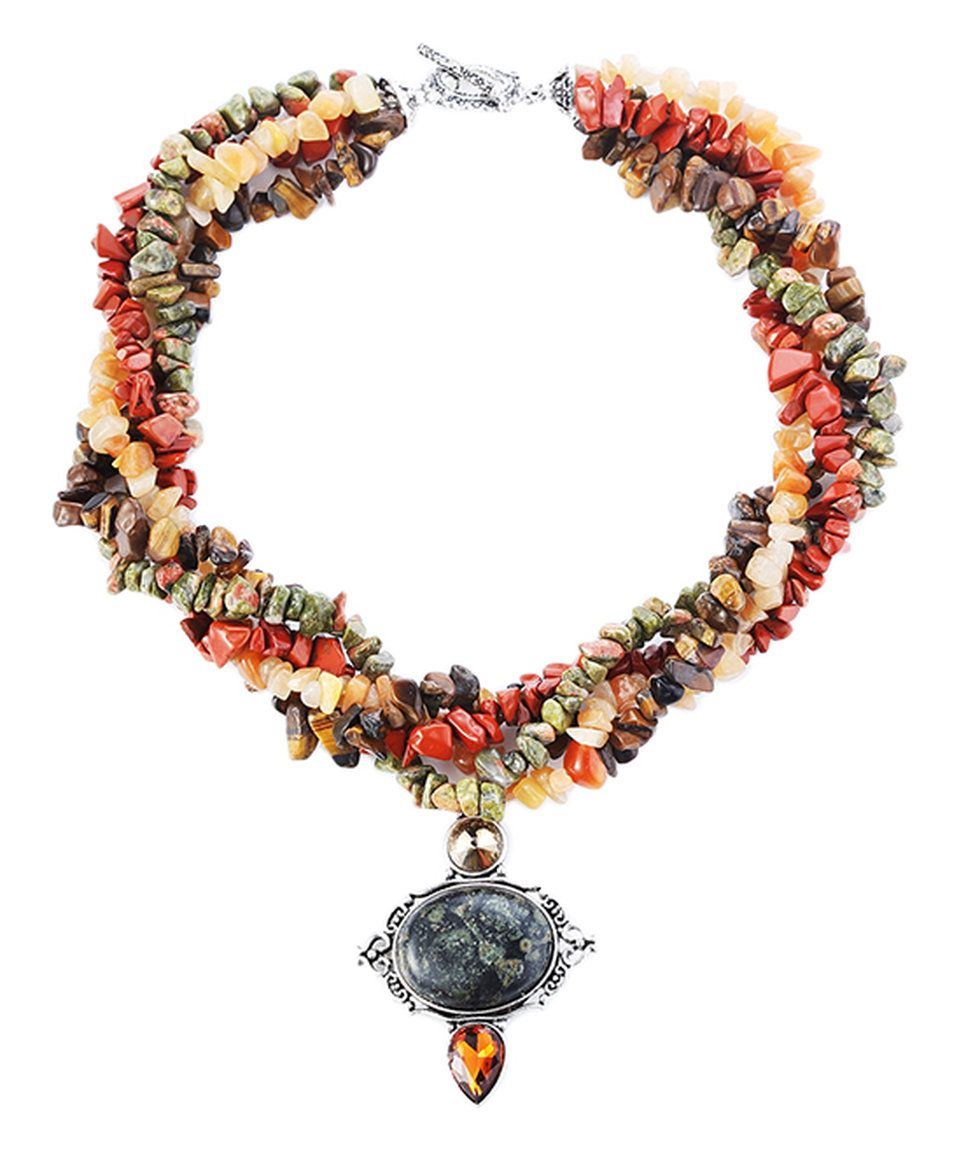 Look what I found on #zulily! Multi-Color Natural Stone Pendant Necklace by Novadab #zulilyfinds
