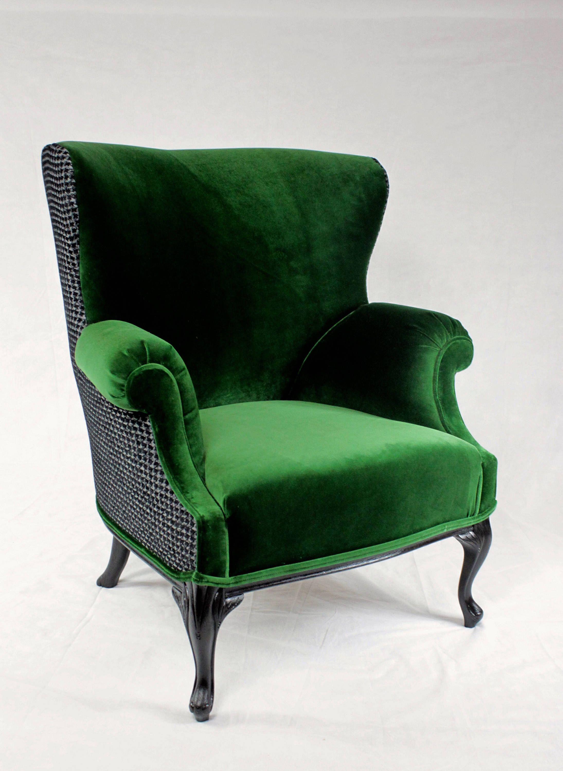 Vintage Emerald Green Velvet Rounded Wing Back Chair With