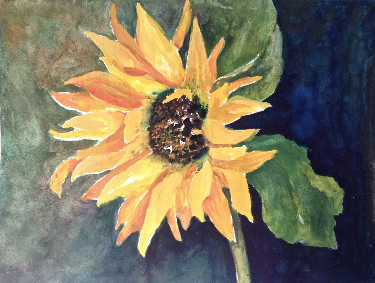 Painting The Background For Sunflower In Water Color Watercolor