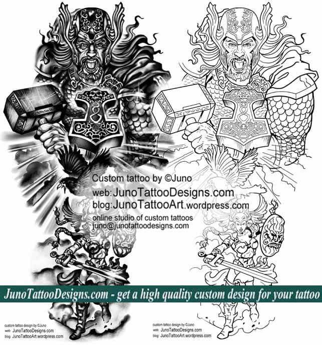 thor norse mythology tattoo template by juno tattoo designs – Tattoo Template