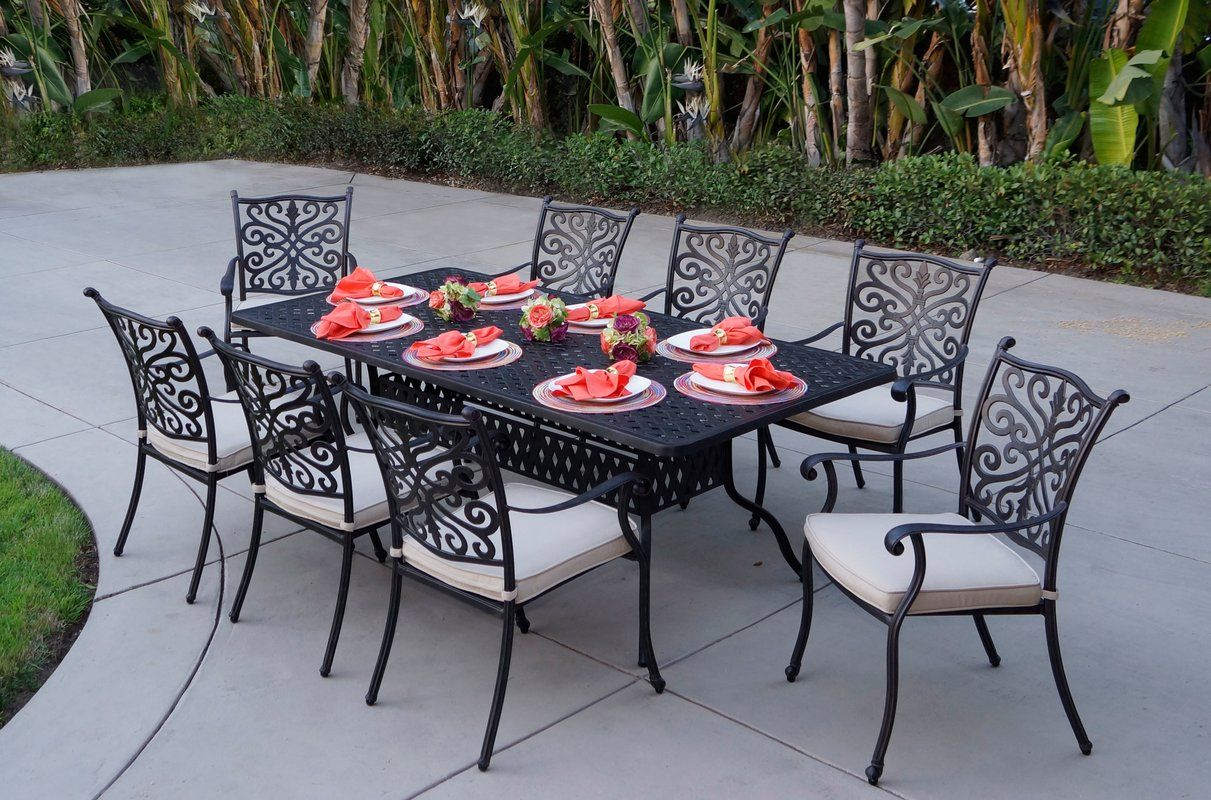Archway 6 Piece Metal Dining Set with Cushions in 6  Metal