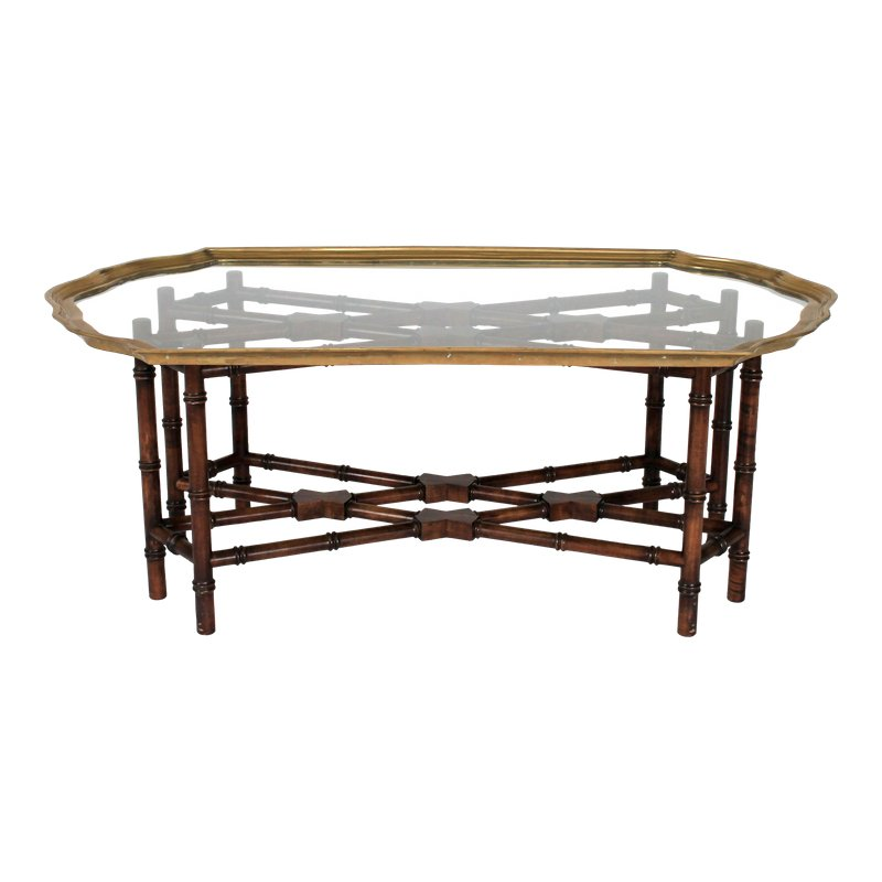 Faux Bamboo Coffee Table W Scalloped Brass Glass Top Coffee