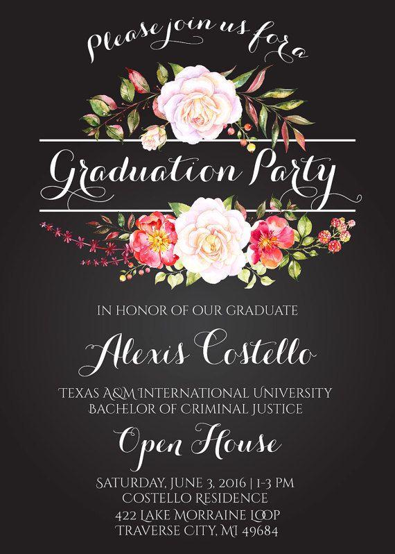 floral graduation invitation printable floral chalkboard grad