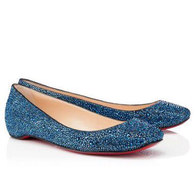 christian louboutin gozul strass ballerinas flat shoes blue shoes rh pinterest com