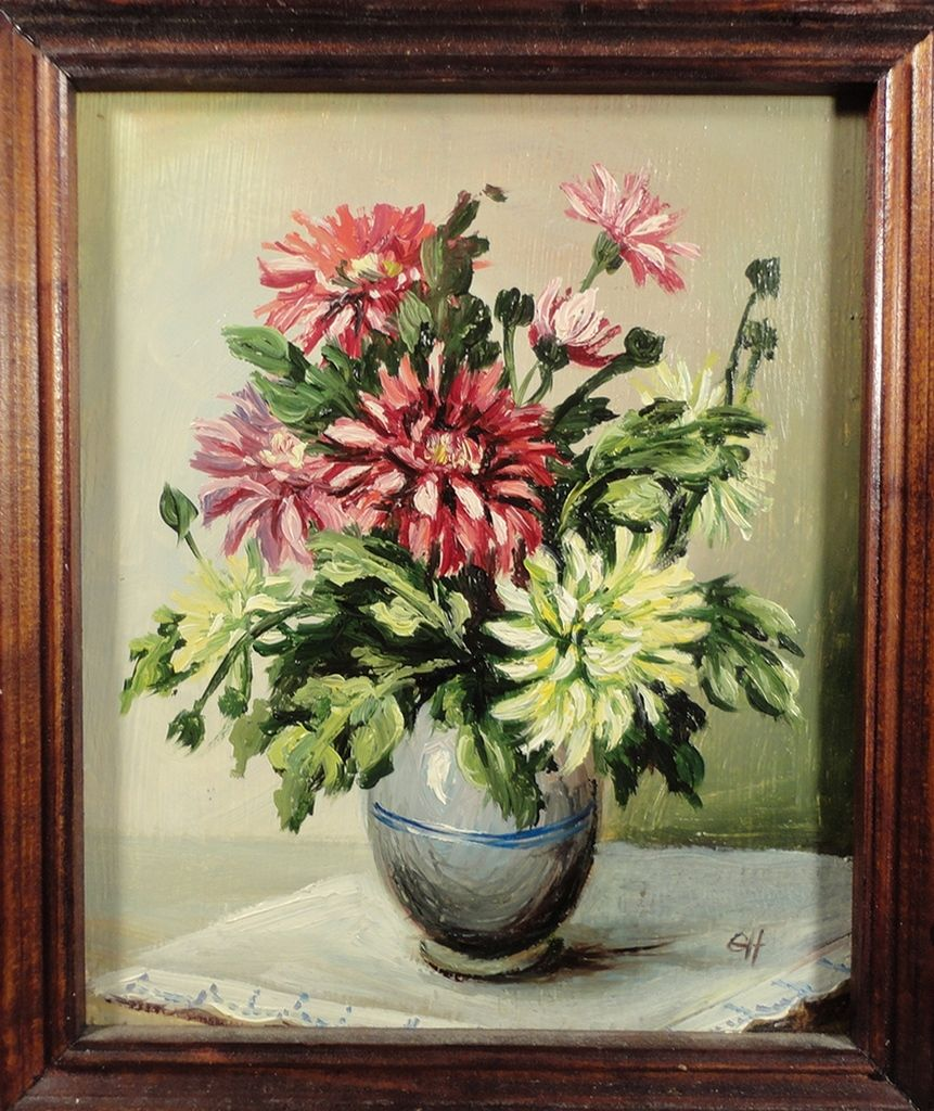 Vintage Russian oil painting. Floral still life with chrysanthemums. Original impressionist flower art. Small artwork on board. From VintageArtCafe. Buy it on ETSY --> https://www.etsy.com/listing/264353983/russian-art-original-floral-oil-painting?ref=shop_home_active_1