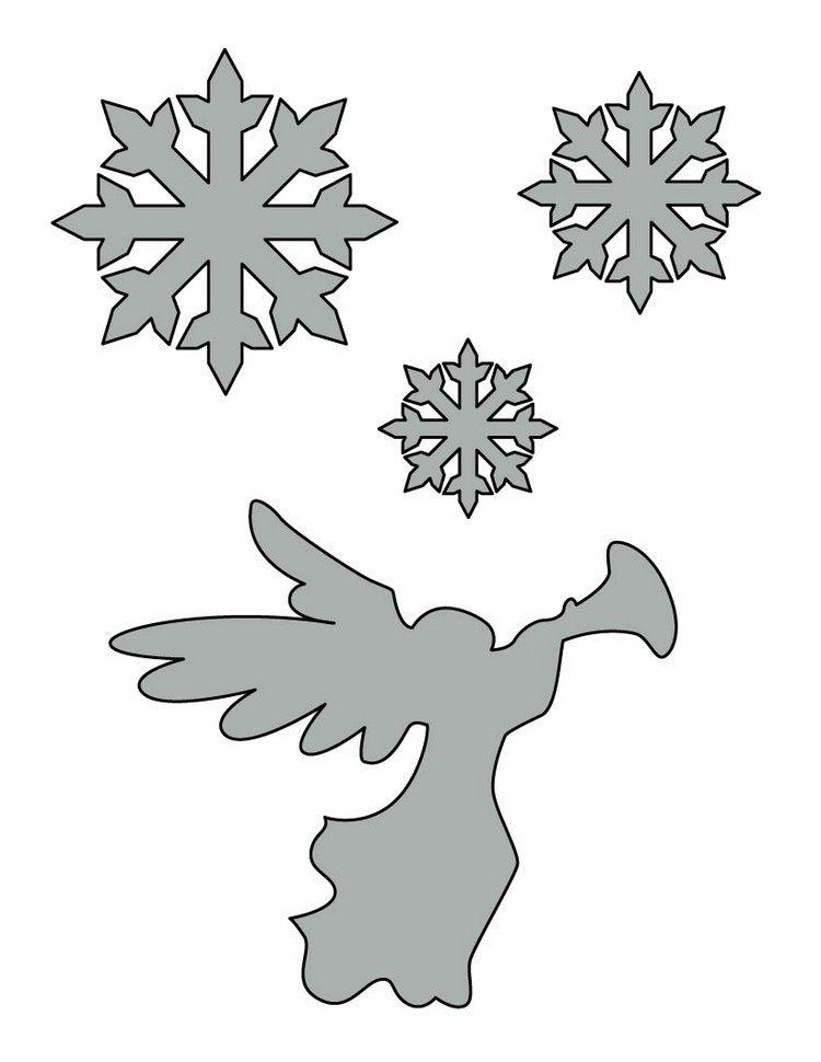 Schneeflocken und Engel Schablonen  Weihnachtsengel  Pinterest