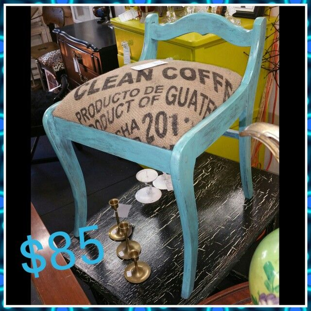 Almos done with this beautiful vanity chair seat will be #coffebean #coffebeanburlap #burlap #printburlap price $85 Come visit us to #starsantiquemarket the address is 526pier ave Hermosa beach ca   Space 4