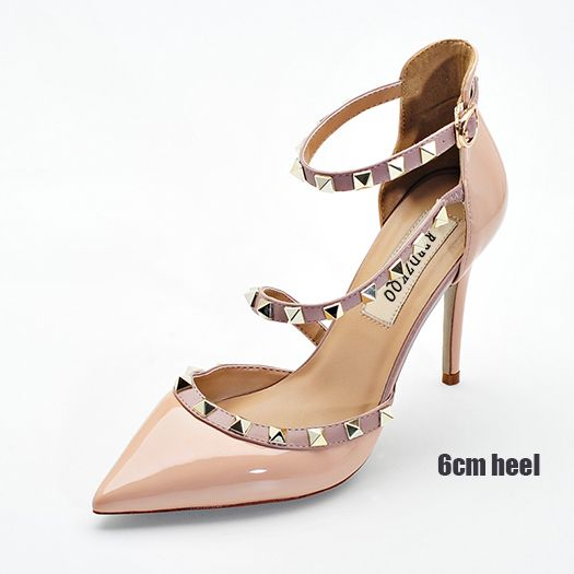 a1c86c7f8382 Runway Scarpin Nude High Heels Pointed Toe Rivet Pumps Fashion Brand Women  Shoes 2017 Italian Ankle
