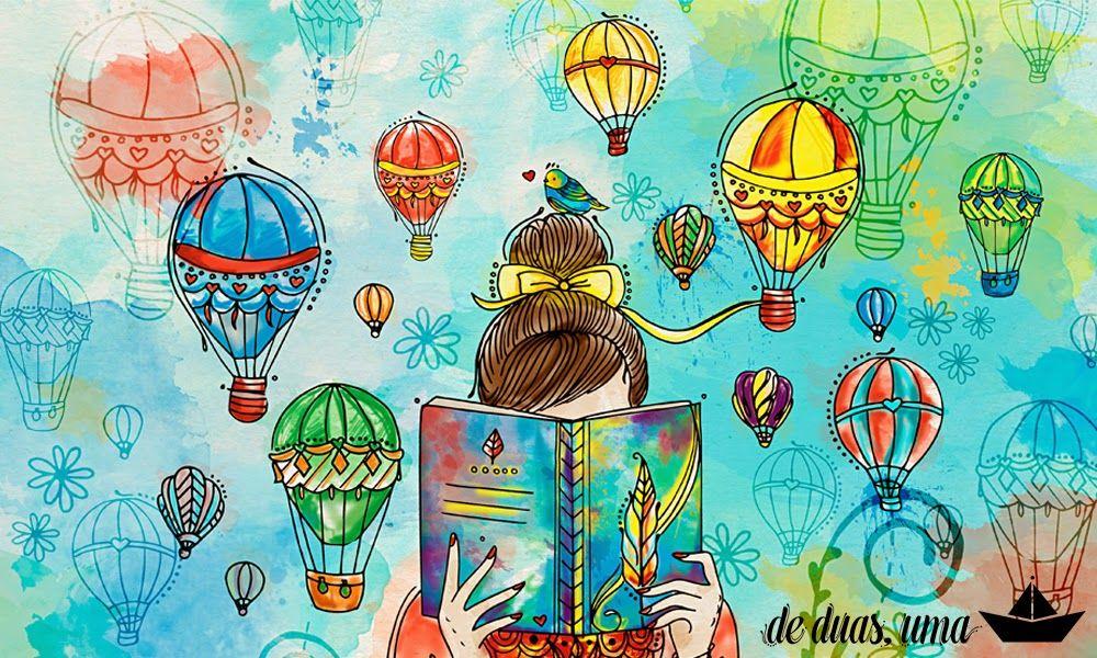 Ilustração Menina Lendo Livro