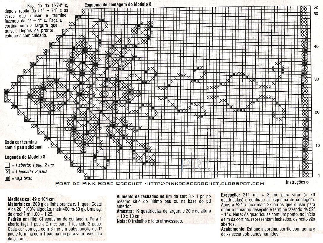 schema bordo a fiori tenda filet   crochet 3   Pinterest   Gardinen ...