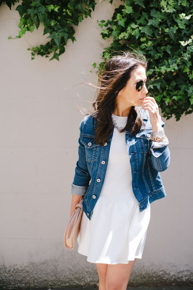 Little white dress and denim jacket #springstyle | What To Wear ...