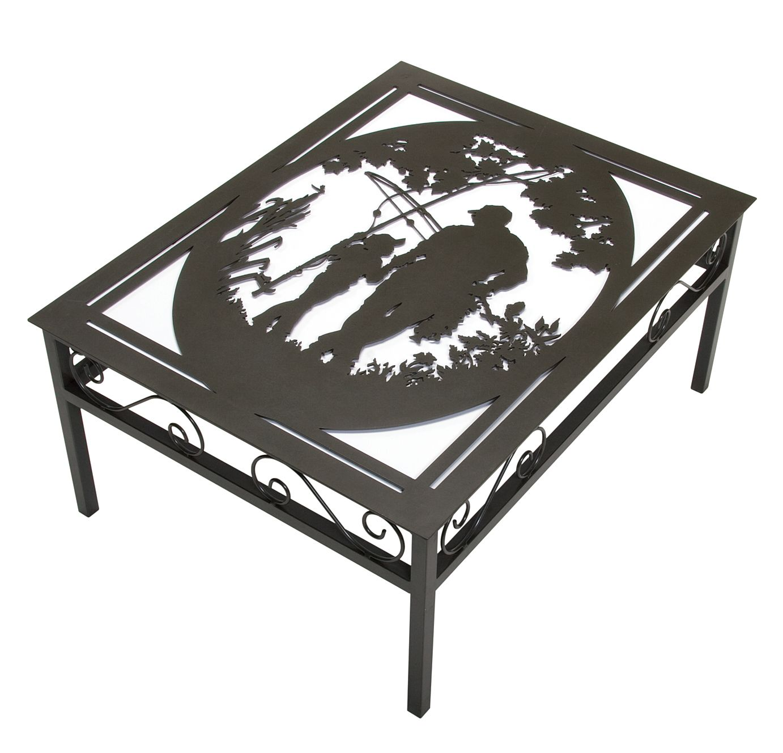 Fabricated Steel Coffee Table: Nostalgic Fishing Metal Coffee Table Design. Cut Your Own