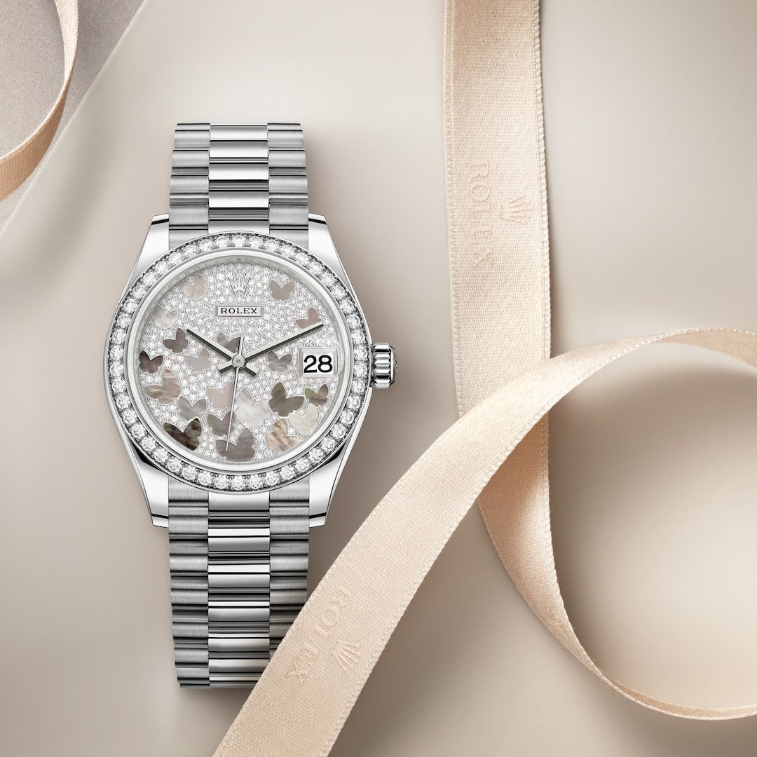 The Classic Watch Of Reference The Rolex Datejust 31 In White Gold And Diamonds 31 Mm Case Paved Mother Of Pearl Butte Classic Watches Rolex Rolex Datejust