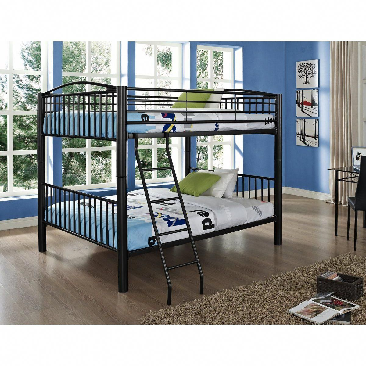 Loft bed plans full size  Thick Tube Black Metal Full over Full Bunk Bed  The Heavy Metal