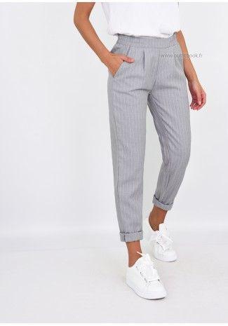 30759624af069 Pantalon gris clair rayé longueur cheville - Outfitbook | Mode ...