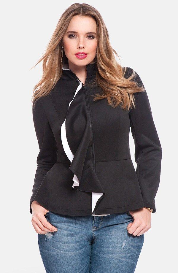 "Sleek and flirty, a fitted jacket cut from a dense stretch knit gets its girl on with a contrast-popped ruffle rippling down the front placket and flouncy peplum hem. <ul> <li>26 1/2"" length.</li> <li>Front zip closure.</li> <li>Stand collar.</li> <li>Partially lined.</li> <li>96% polyester, 4% spandex.</li> <li>Dry clean.</li> <li>By ELOQUII"