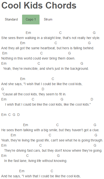 Cool Kids Chords Echosmith | guitar | Pinterest