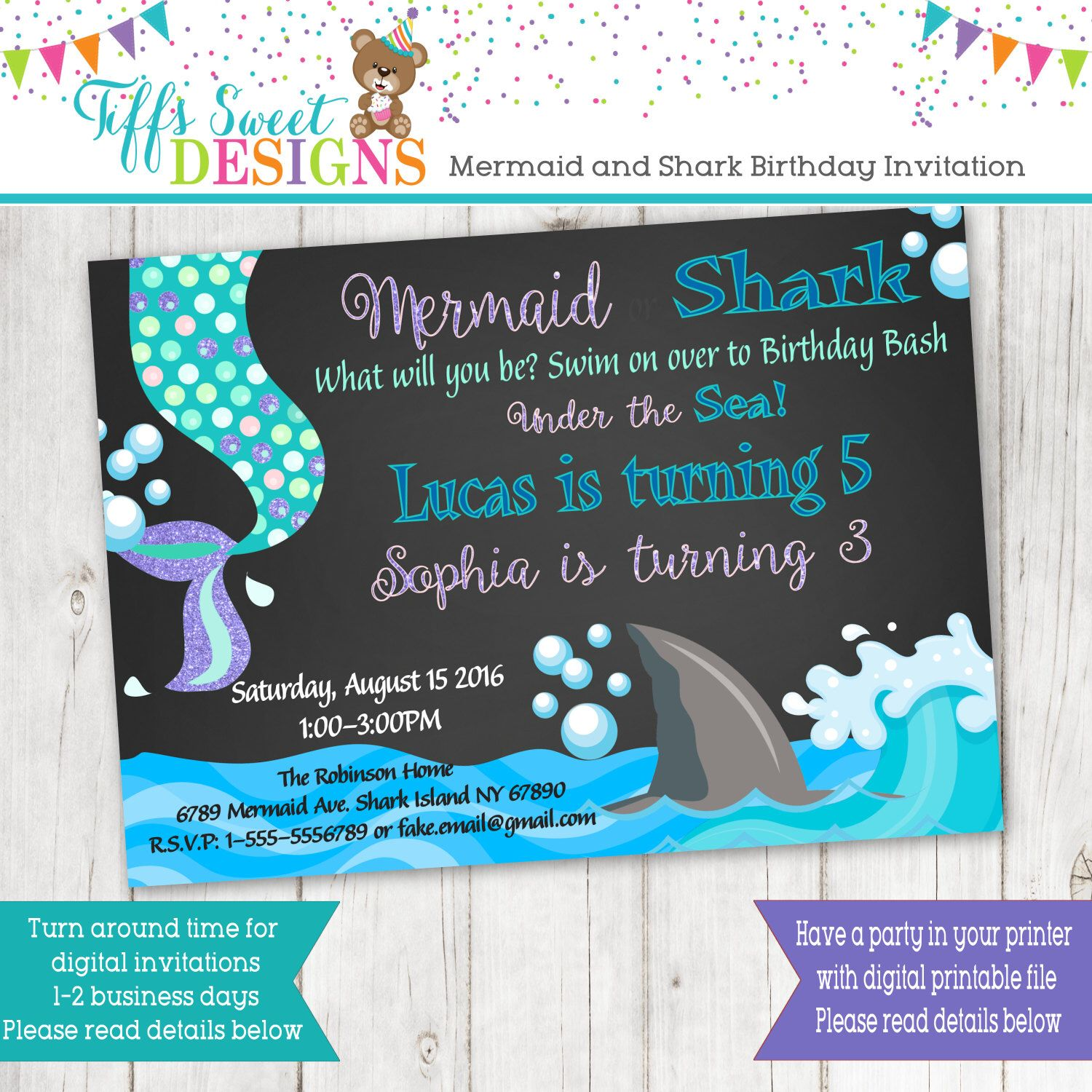 Mermaid and shark birthday brother and sister birthday party mermaid and shark birthday brother and sister birthday party sibling invitation mermaid and shark twins chalkboard filmwisefo Images