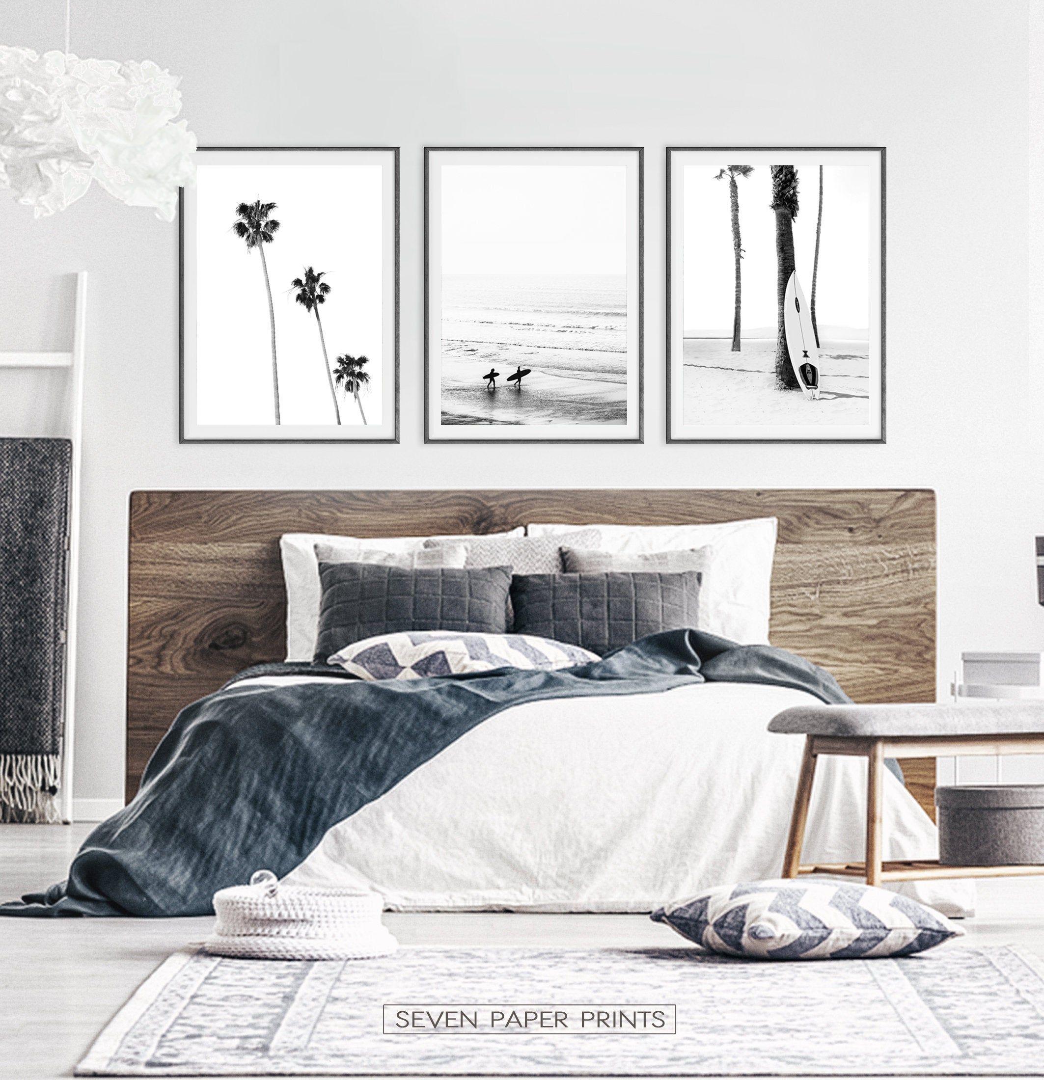 Black White Surfing Wall Art Set Boho Palm Trees Summer Beach Etsy In 2020 Bedroom Surf Bedroom Surf Decor