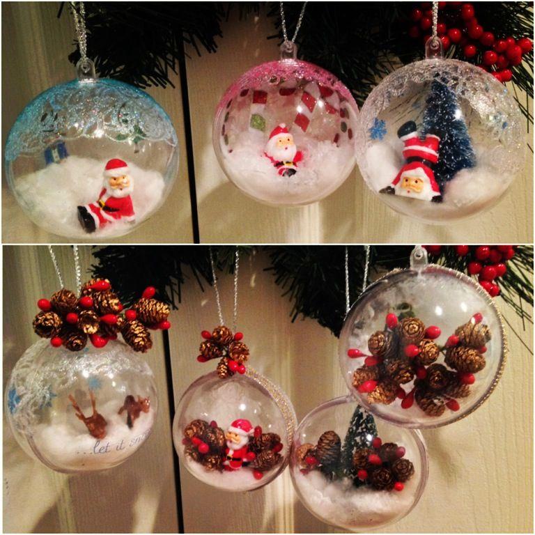 DIY ornaments. Create a winter scene with plastic ornament