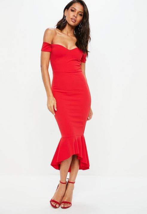 c18933b9d6 Red Bardot Fishtail Midi Dress in 2019 | Elegant dresses red ...