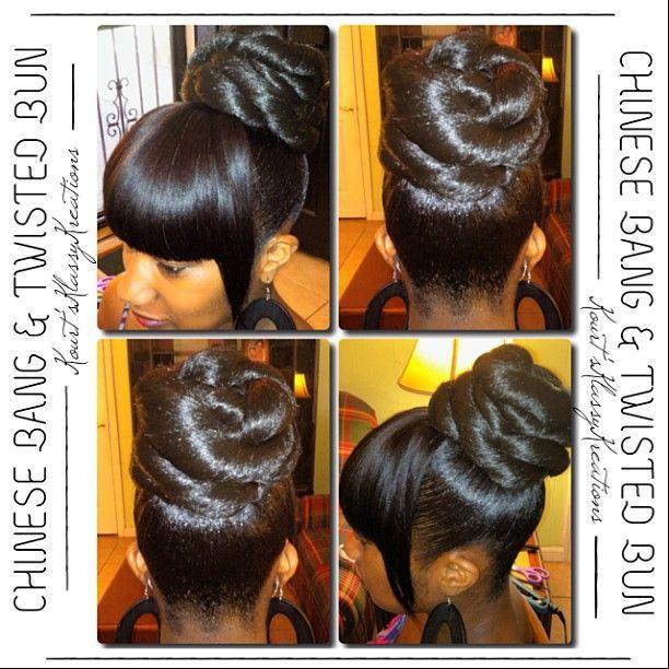 Image Of Black Bun Hairstyles With Bangs Hair Styles Black Hair Updo Hairstyles Ponytail Styles