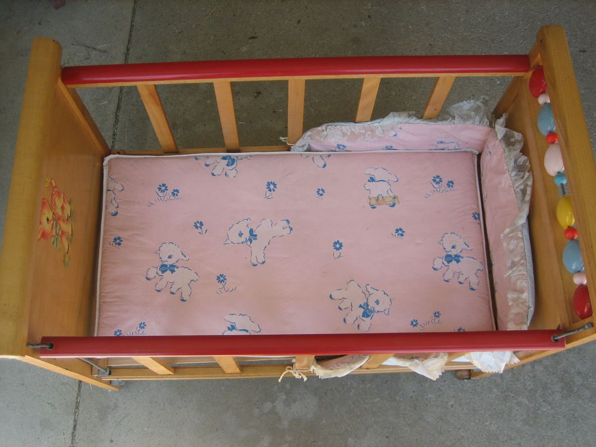 1950s Baby Doll Bed Crib With Wheels Made By Whitney Bros Co 1950s