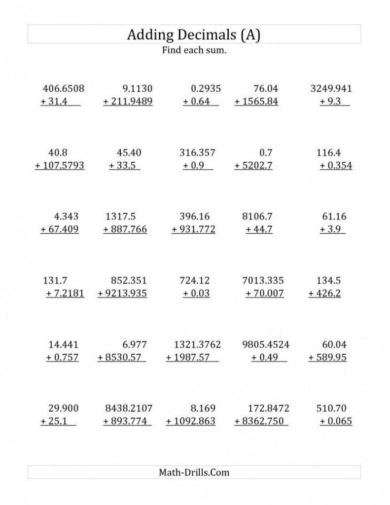 Printable Worksheets Adding And Subtracting Decimals V 2020 G