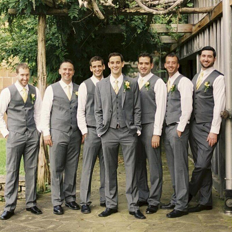 Silver Gray Groom Mens Suits High Quality The Best Man Wedding
