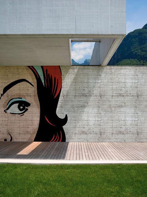 Mural on the side of a house Architecture Pinterest Souffle - Comment Peindre Du Papier Peint