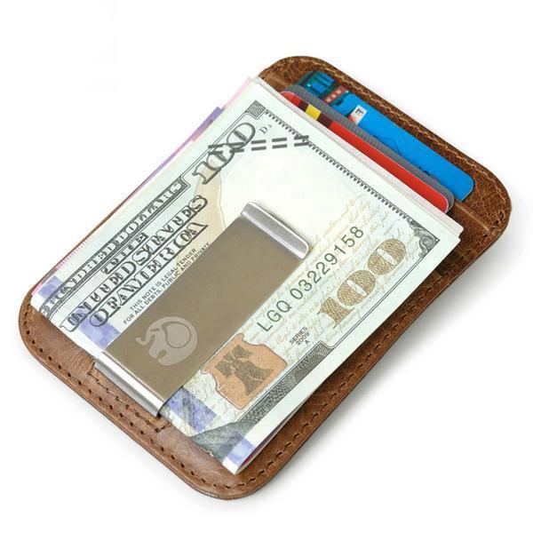 100/% Cuir véritable Homme Fermeture Éclair Portefeuille RFID blocking ID Card Holder Money Clip