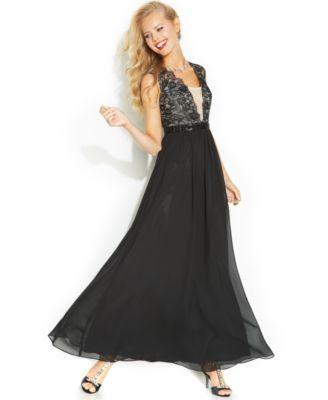 B Darlin Juniors\' Lace Chiffon Gown | macys.com | Prom dresses ...