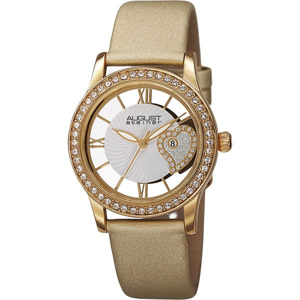 fa18e61157a August Steiner Women s Quartz Heart Design Satin Gold-Tone Strap Watch  ( 62) ❤