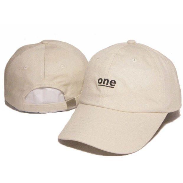 014e236e6d Unisex ONE Letter Embroidery Baseball Cap Strapback Cotton Solid Cream  Beige Tan Women & Men Dad Hat